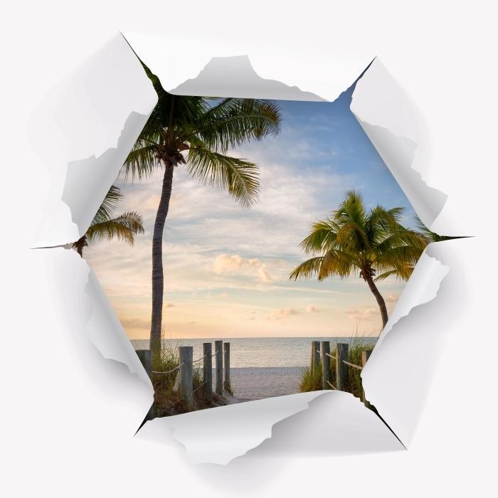 Vinyl-Fototapete Loch in der Wand - Panorama - Durchbruch in der Wand