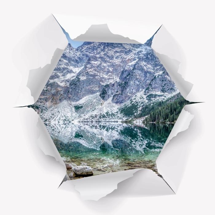 Fototapeta winylowa Dziura w ścianie - Morskie Oko - Dziury w ścianie