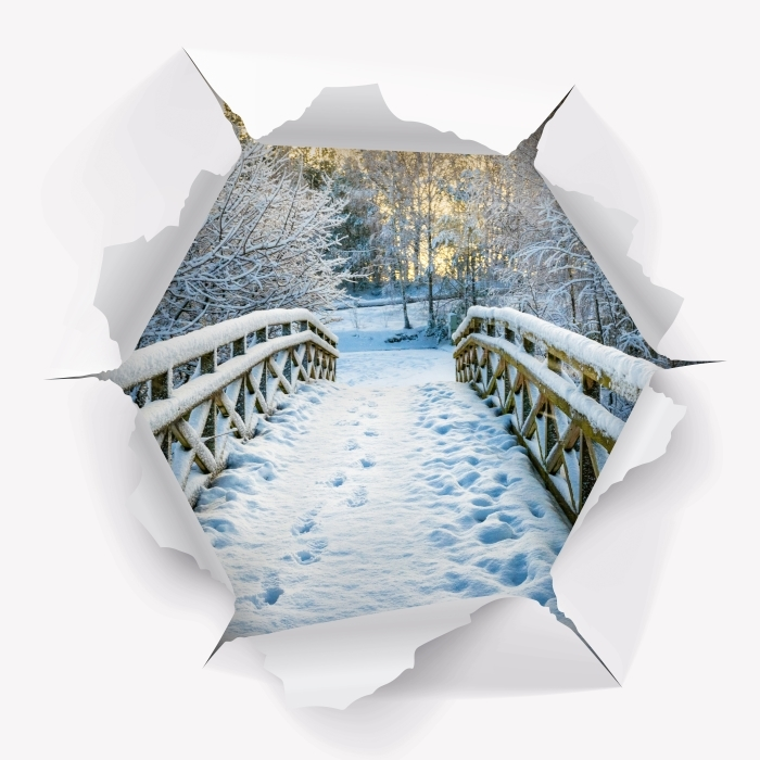 Reikä seinään - Winter silta Vinyyli valokuvatapetti - Reikää seinään