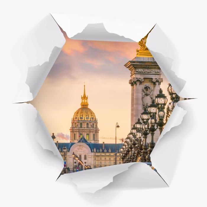 Vinyl-Fototapete Loch in der Wand - Pont Alexandre III. Paris - Durchbruch in der Wand