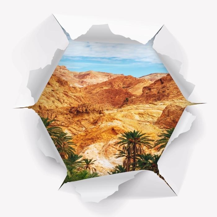 Vinyl-Fototapete Loch in der Wand - Bergoase - Durchbruch in der Wand