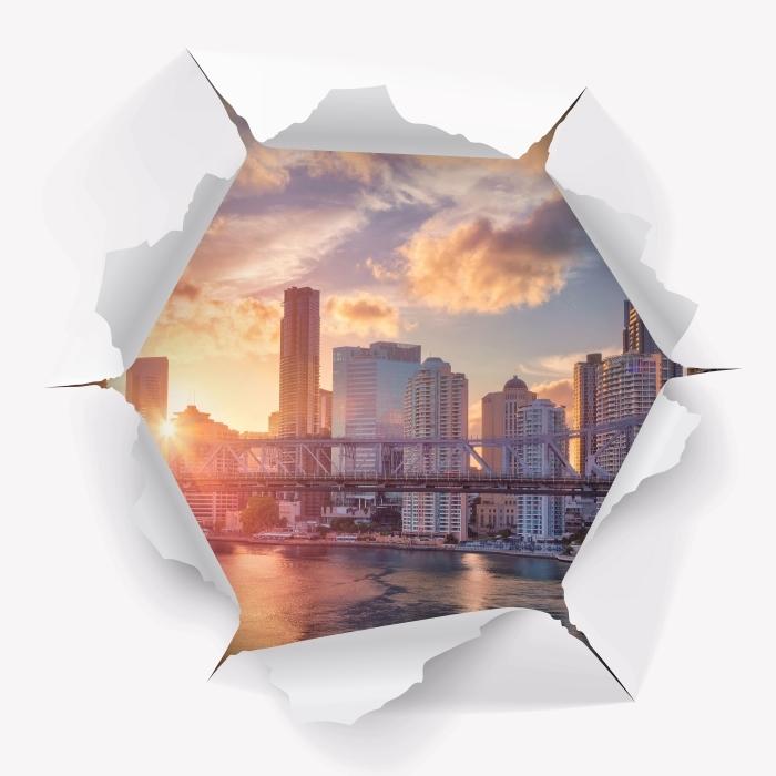 Vinyl-Fototapete Loch in der Wand - Brisbane. - Durchbruch in der Wand