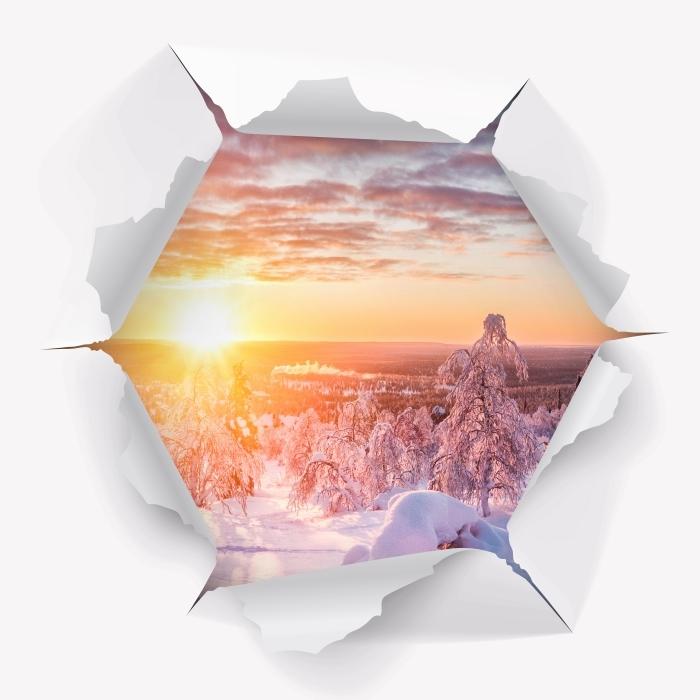 Vinyl-Fototapete Loch in der Wand - Skandinavien Sonnenuntergang - Durchbruch in der Wand
