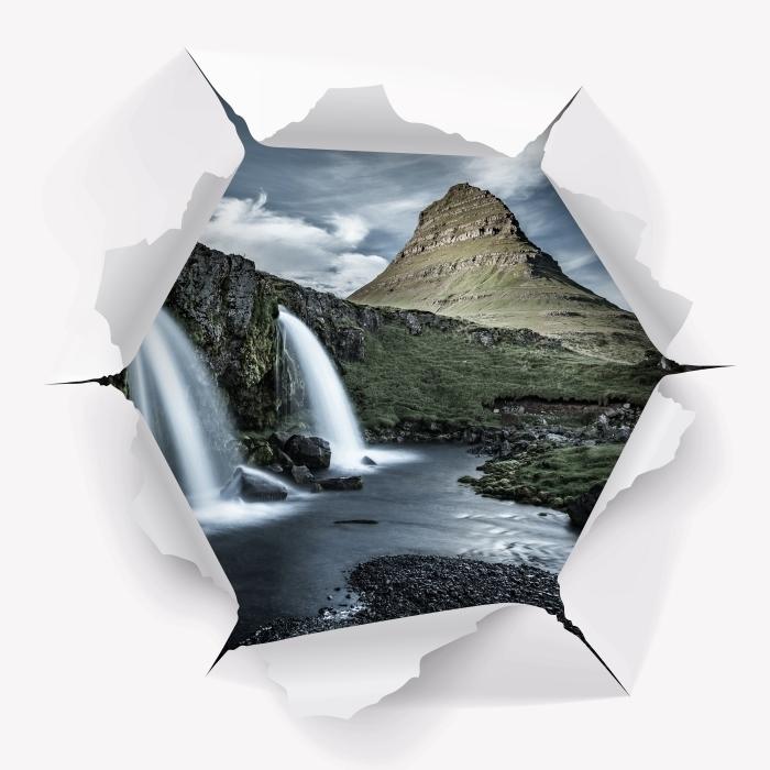 Papier peint vinyle Trou dans le mur - Cascade. Islande. - Les trous dans le mur
