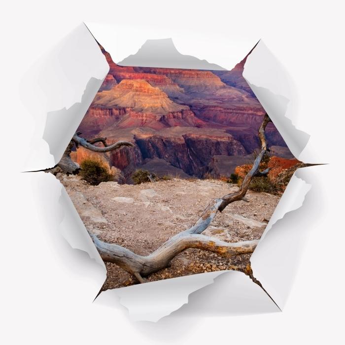 Fototapeta winylowa Dziura w ścianie - Grand Canyon - Dziury w ścianie