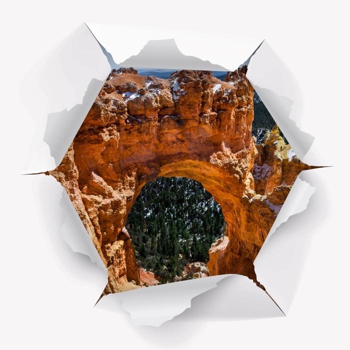 Fototapeta winylowa Dziura w ścianie - Kanion - Dziury w ścianie
