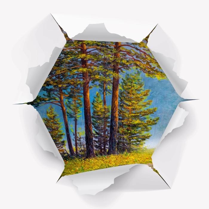Vinyl-Fototapete Loch in der Wand - Sommerwald - Durchbruch in der Wand