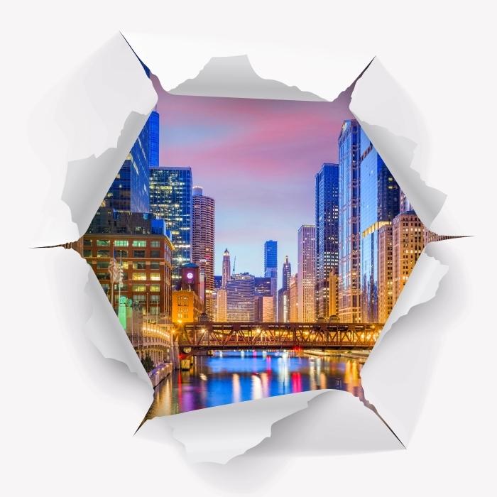 Vinyl-Fototapete Loch in der Wand - Chicago, Illinois, USA. - Durchbruch in der Wand