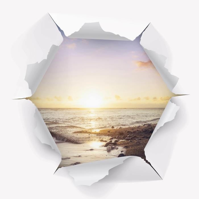 Vinil Duvar Resmi Delik duvar - sahilde batımı - Duvarda delikler