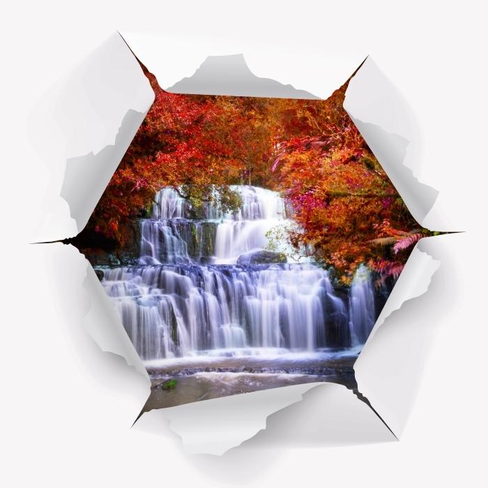 Fototapeta winylowa Dziura w ścianie - Wodospad w dżungli. Nowa Zelandia - Dziury w ścianie