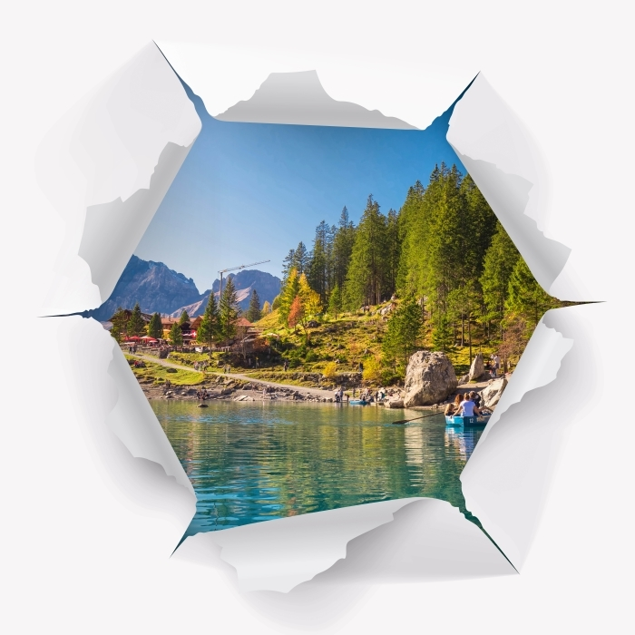 Hole in the wall - blue lake. Switzerland. Vinyl Wall Mural - Holes in the wall