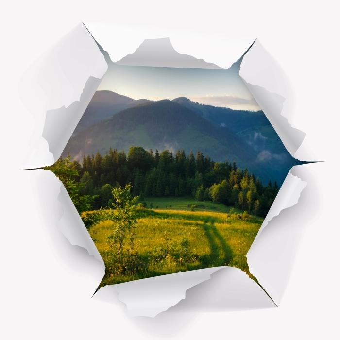 Vinyl-Fototapete Loch in der Wand - Gebirgstal - Durchbruch in der Wand