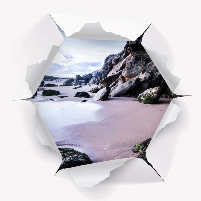 Vinyl-Fototapete Loch in der Wand - Küste in Frankreich. - Durchbruch in der Wand