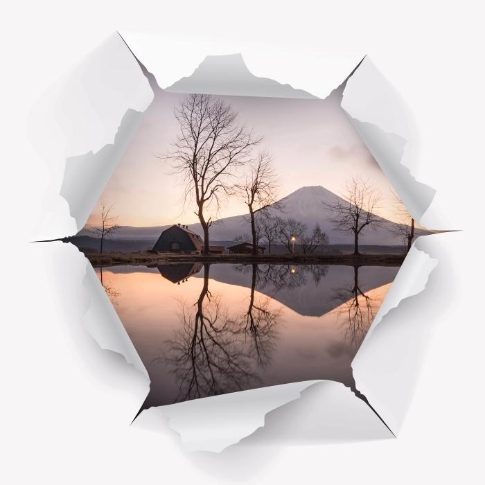 Fototapeta winylowa Dziura w ścianie - Góra Fuji - Dziury w ścianie