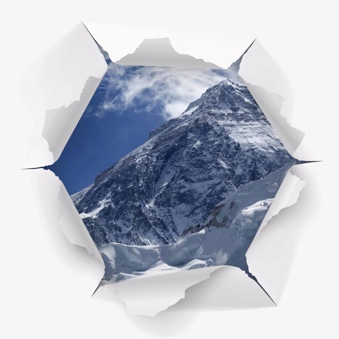 Fototapeta winylowa Dziura w ścianie - Mount Everest - Dziury w ścianie