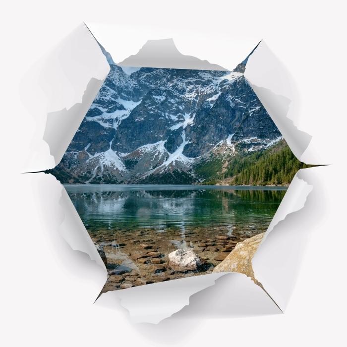 Papier peint vinyle Trou dans le mur - Sea Eye. Montagnes Tatra. Pologne. - Les trous dans le mur