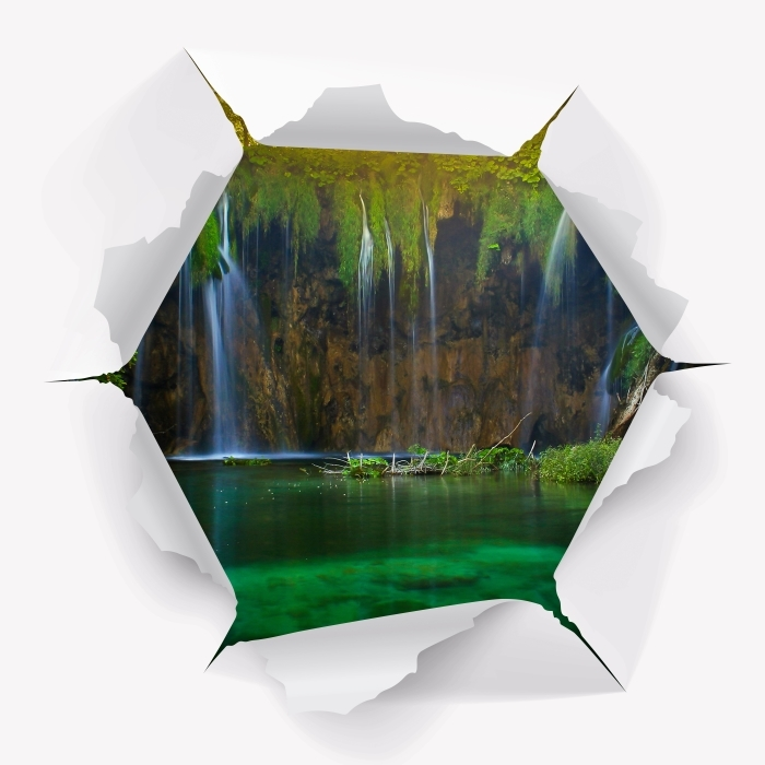 Vinyl-Fototapete Loch in der Wand - die Plitvicer Seen. Kroatien. - Durchbruch in der Wand