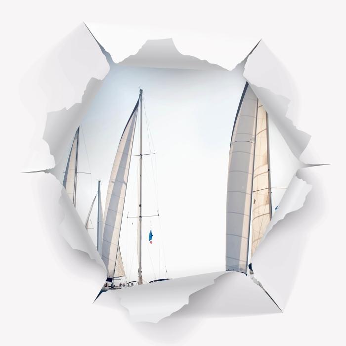 Fototapeta winylowa Dziura w ścianie - Jachty z białymi żaglami - Dziury w ścianie