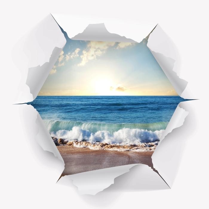 Fototapeta winylowa Dziura w ścianie - Morze. Zachód słońca. - Dziury w ścianie