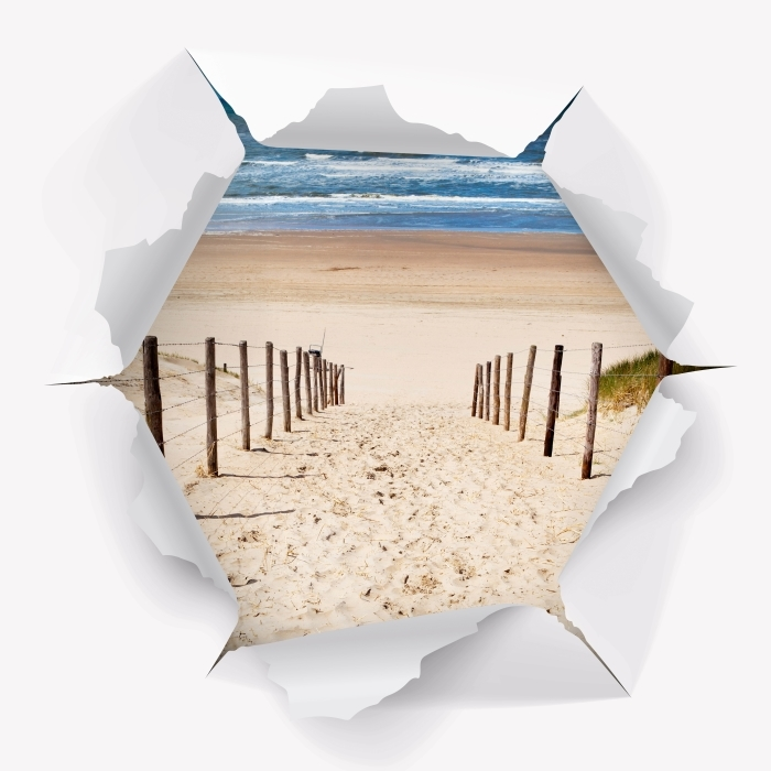 Fototapeta winylowa Dziura w ścianie - Droga do plaży - Dziury w ścianie