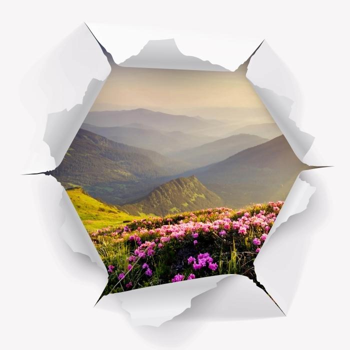 Papier peint vinyle Trou dans le mur - Paysage de montagne - Les trous dans le mur