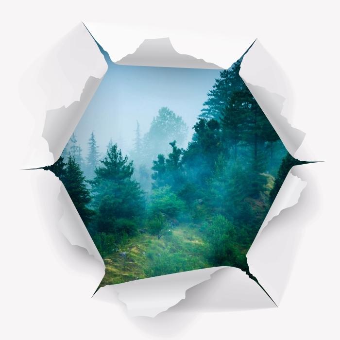Papier peint vinyle Trou dans le mur - brouillard - Les trous dans le mur