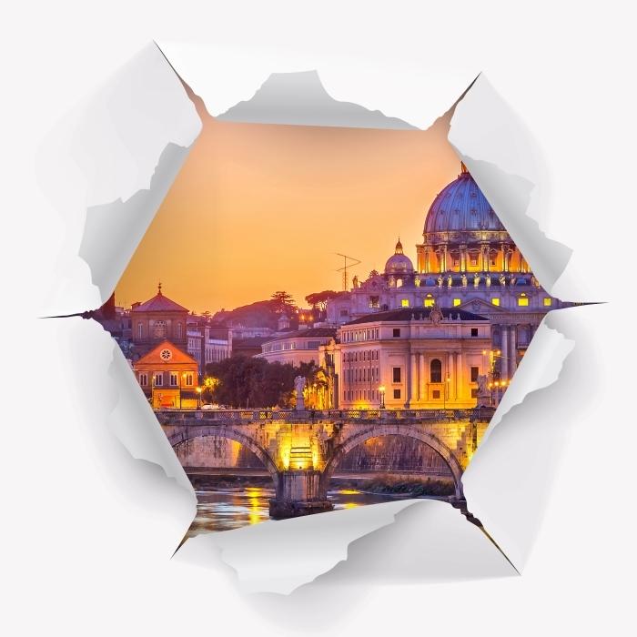 Vinyl-Fototapete Loch in der Wand - Kathedrale von St. Peter. Rom - Durchbruch in der Wand