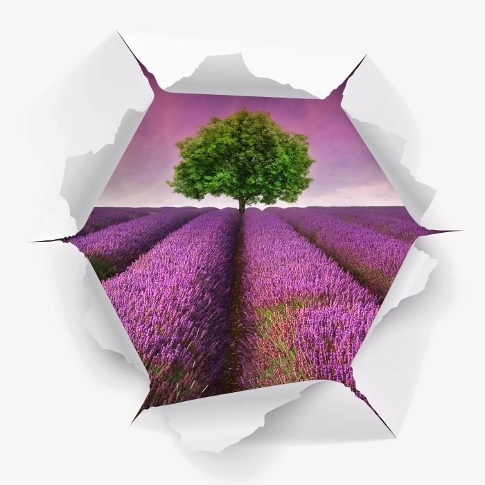 Fototapeta winylowa Dziura w ścianie - Letni krajobraz - Dziury w ścianie