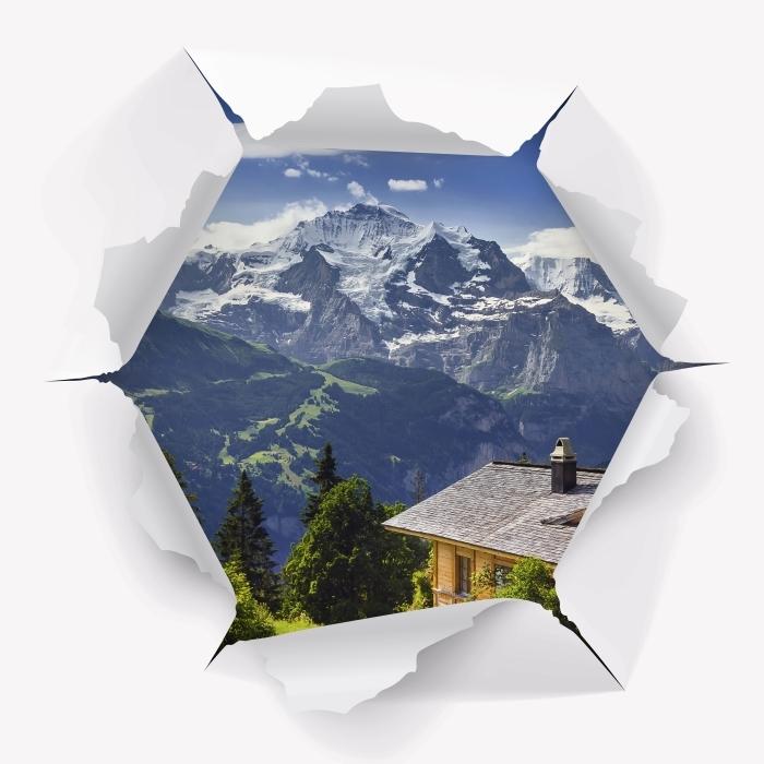 Fototapeta winylowa Dziura w ścianie - Góry - Dziury w ścianie
