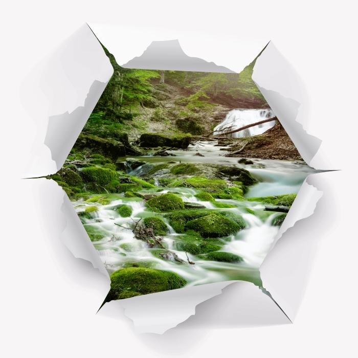 Vinyl-Fototapete Loch in der Wand - Wald und Wasserfall - Durchbruch in der Wand