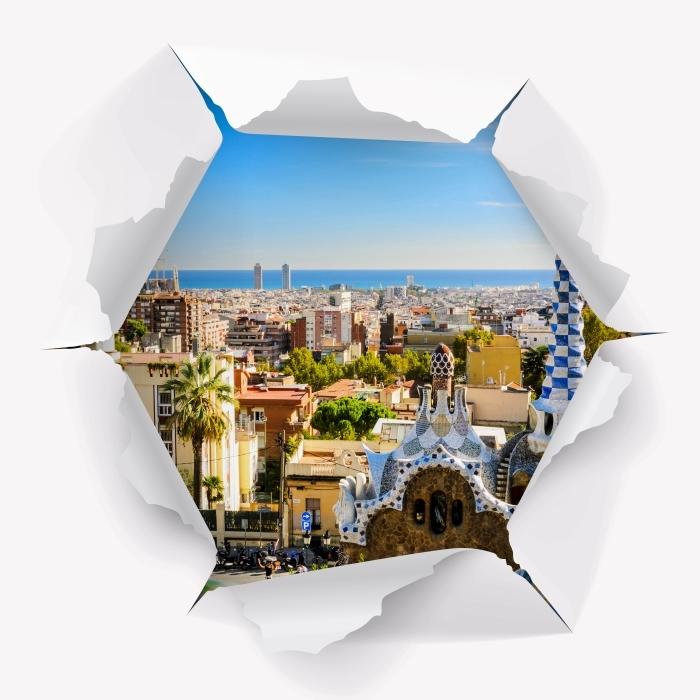 Sticker Pixerstick Trou dans le mur - Parc Guell à Barcelone. Espagne. - Les trous dans le mur