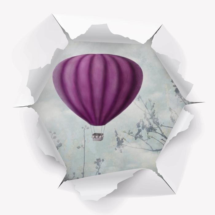 Vinyl-Fototapete Loch in der Wand - Luftballons in den Himmel - Durchbruch in der Wand