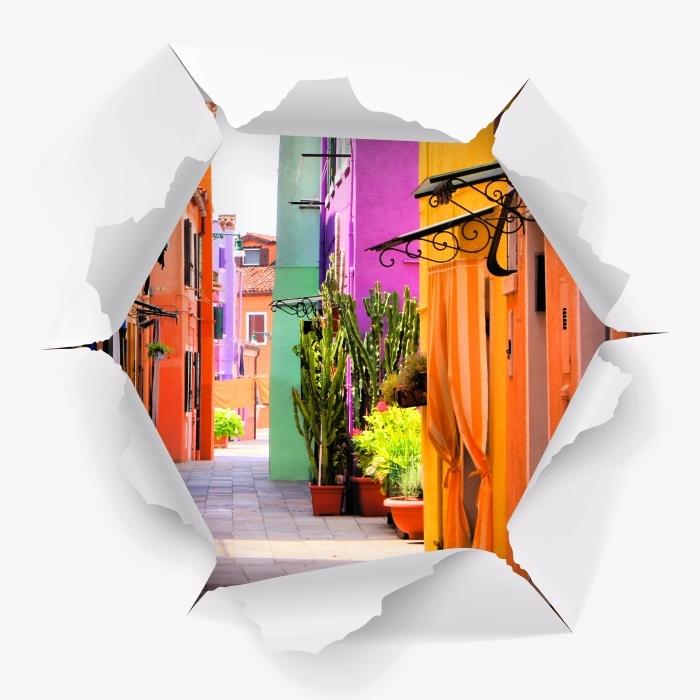 Fototapeta winylowa Dziura w ścianie - Kolorowa ulica w Burano. Włochy. - Dziury w ścianie
