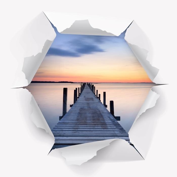 Vinyl-Fototapete Loch in der Wand - Pier - Durchbruch in der Wand