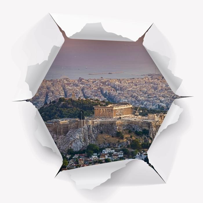 Carta da Parati in Vinile Buco nel muro - Partenone. Grecia - Buchi nel muro