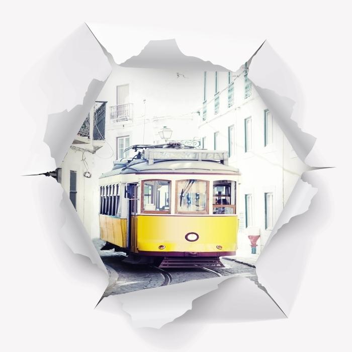 Vinyl-Fototapete Loch in der Wand - Lissabon - Durchbruch in der Wand