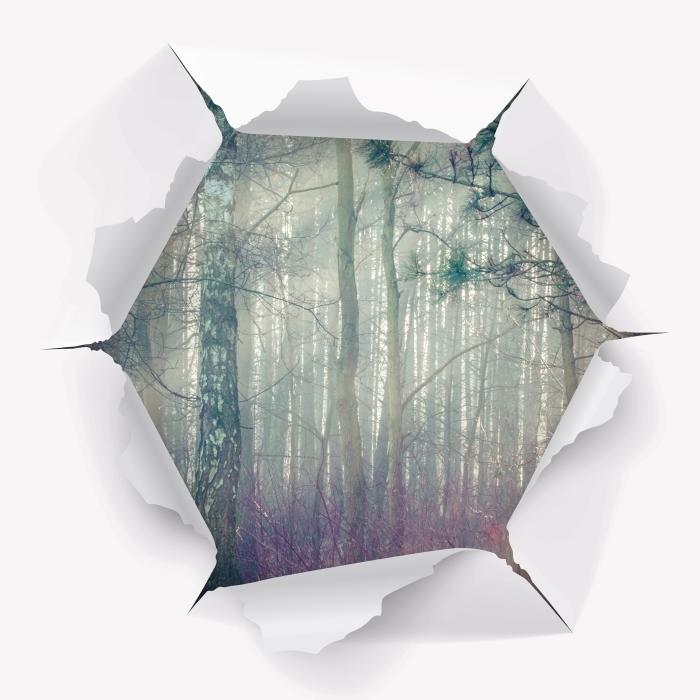 Fototapeta winylowa Dziura w ścianie - Las we mgle - Dziury w ścianie