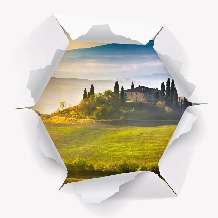 Papier peint vinyle Trou dans le mur - Toscane à l'aube - Les trous dans le mur