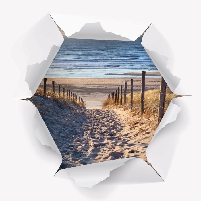 Papier peint vinyle Trou dans le mur - Mer du Nord - Les trous dans le mur