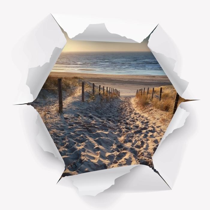 Vinyl-Fototapete Loch in der Wand - Nordsee - Durchbruch in der Wand