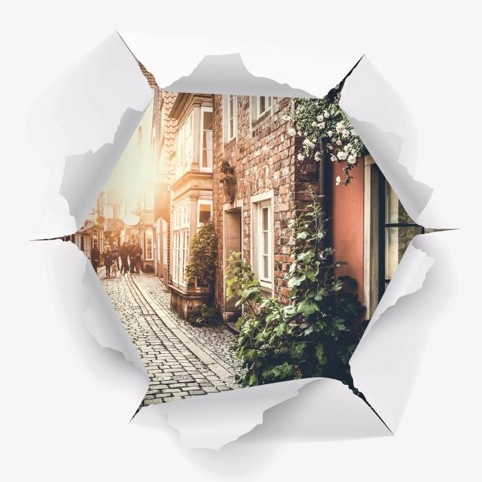 Fototapeta winylowa Dziura w ścianie - Stare ulice - Dziury w ścianie