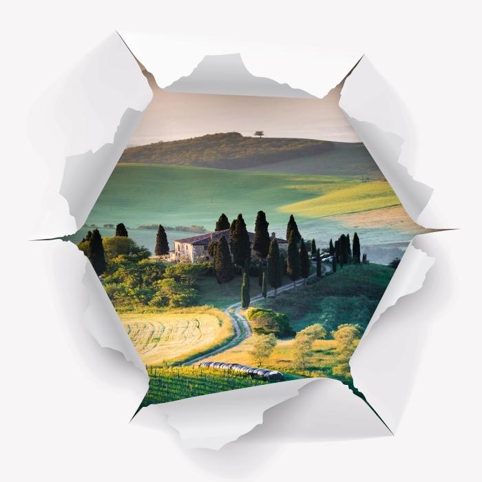 Fototapeta winylowa Dziura w ścianie - Toskania - Dziury w ścianie