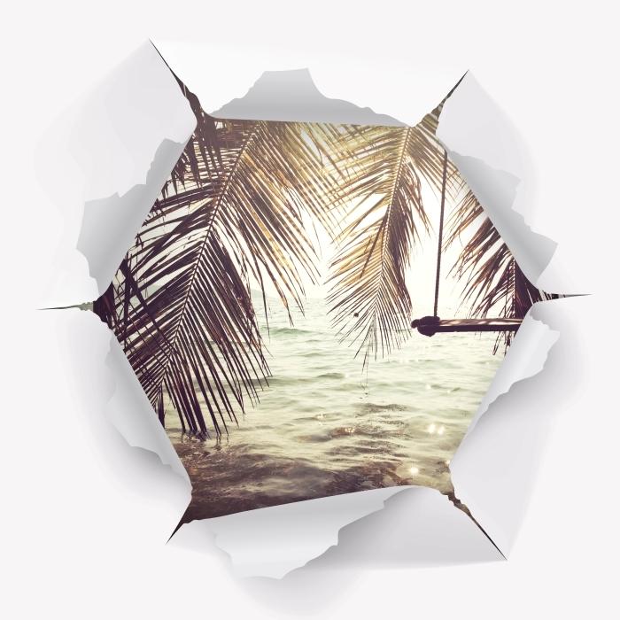 Papier peint vinyle Trou dans le mur - plage tropicale - Les trous dans le mur