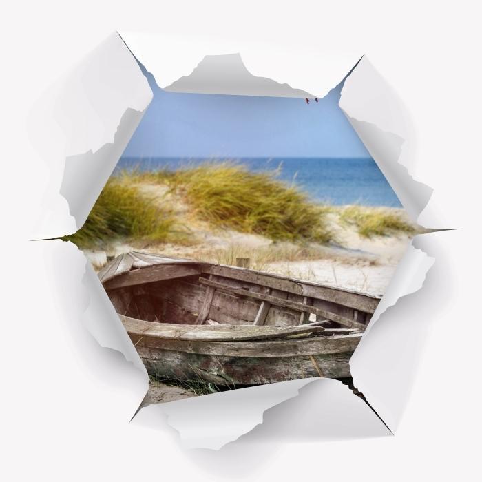 Vinyl-Fototapete Loch in der Wand - Strand am Meer - Durchbruch in der Wand