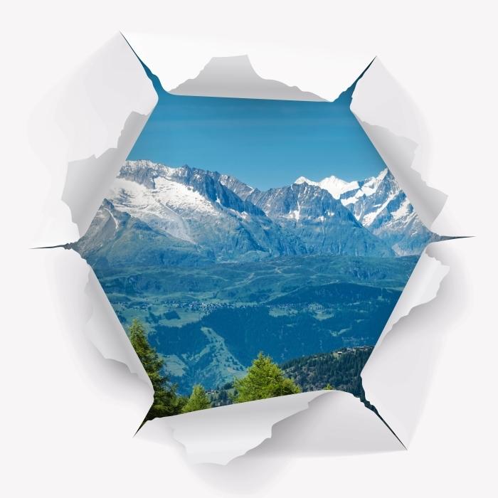 Vinyl-Fototapete Loch in der Wand - Panorama der hohen Berge - Durchbruch in der Wand