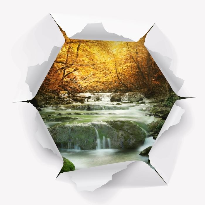 Carta da Parati in Vinile Buco nel muro - Foresta e cascata - Buchi nel muro