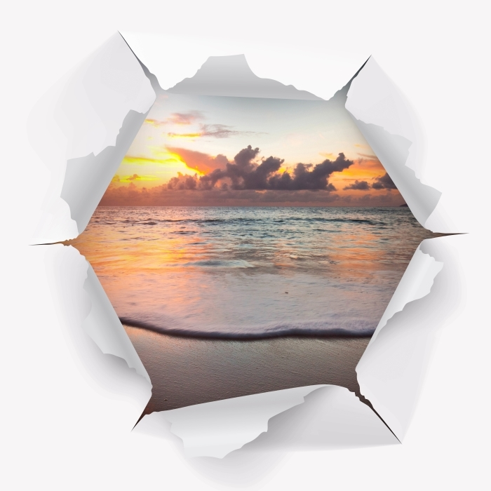 Vinyl-Fototapete Loch in der Wand - Sunset - Durchbruch in der Wand