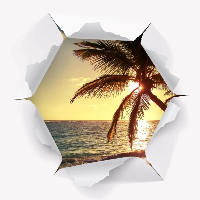 Vinyl-Fototapete Loch in der Wand - Palmen auf einem tropischen Strand - Durchbruch in der Wand