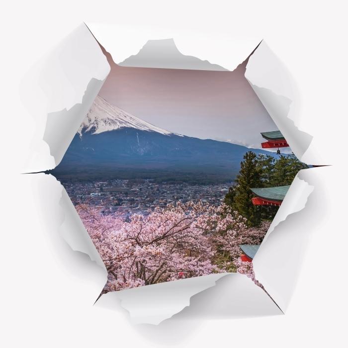 Fototapeta winylowa Dziura w ścianie - Fuji - Dziury w ścianie