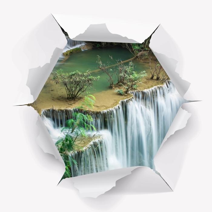 Vinyl-Fototapete Loch in der Wand - Schöner Wasserfall im tropischen Wald - Durchbruch in der Wand